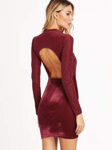 Burgundy Open Back Striped Velvet Bodycon Dress