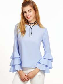 Blue Tiered Bell Sleeve Keyhole Back Blouse