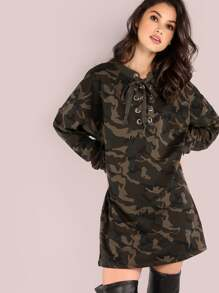 Oversized Lace Up Long Sleeve Sweatshirt Dress CAMOUFLAGE