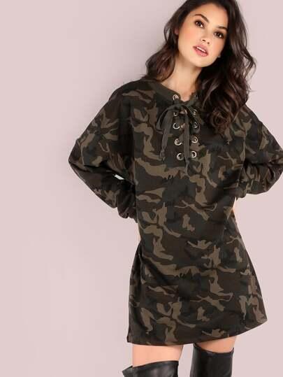 Oversized Lace Up Long Sleeve Sweatshirt Dress CAMOUFLAGE
