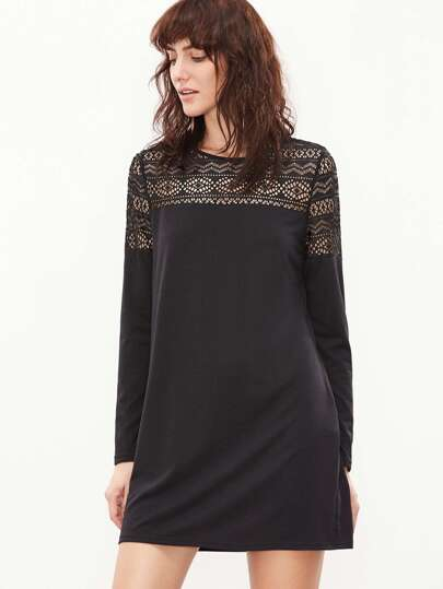Black Hollow Out Lace Shoulder Tee Dress