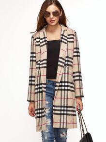 Khaki Plaid Single Button Pocket Front Overcoat