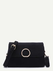 Black Nubuck Leather Flap Shoulder Bag