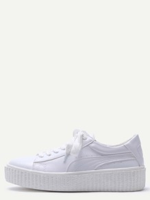 White Lace Up Faux Leather Rubber Sole Low Top Sneakers