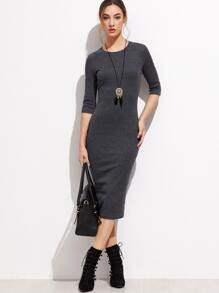 Heather Grey Elbow Sleeve Dress
