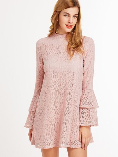 Pink Keyhole Mock Neck Layered Ruffle Sleeve Lace Dress