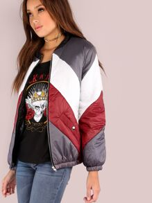 Vintage Lightweight Puffer Bomber Jacket RED