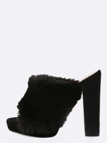 Open Toe Fur Mule Heels BLACK