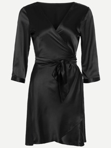 Black V Neck Wrap Tie  Pajamas Dress