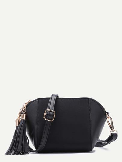 Black Patchwork Leather Tassel Shoulder Bag