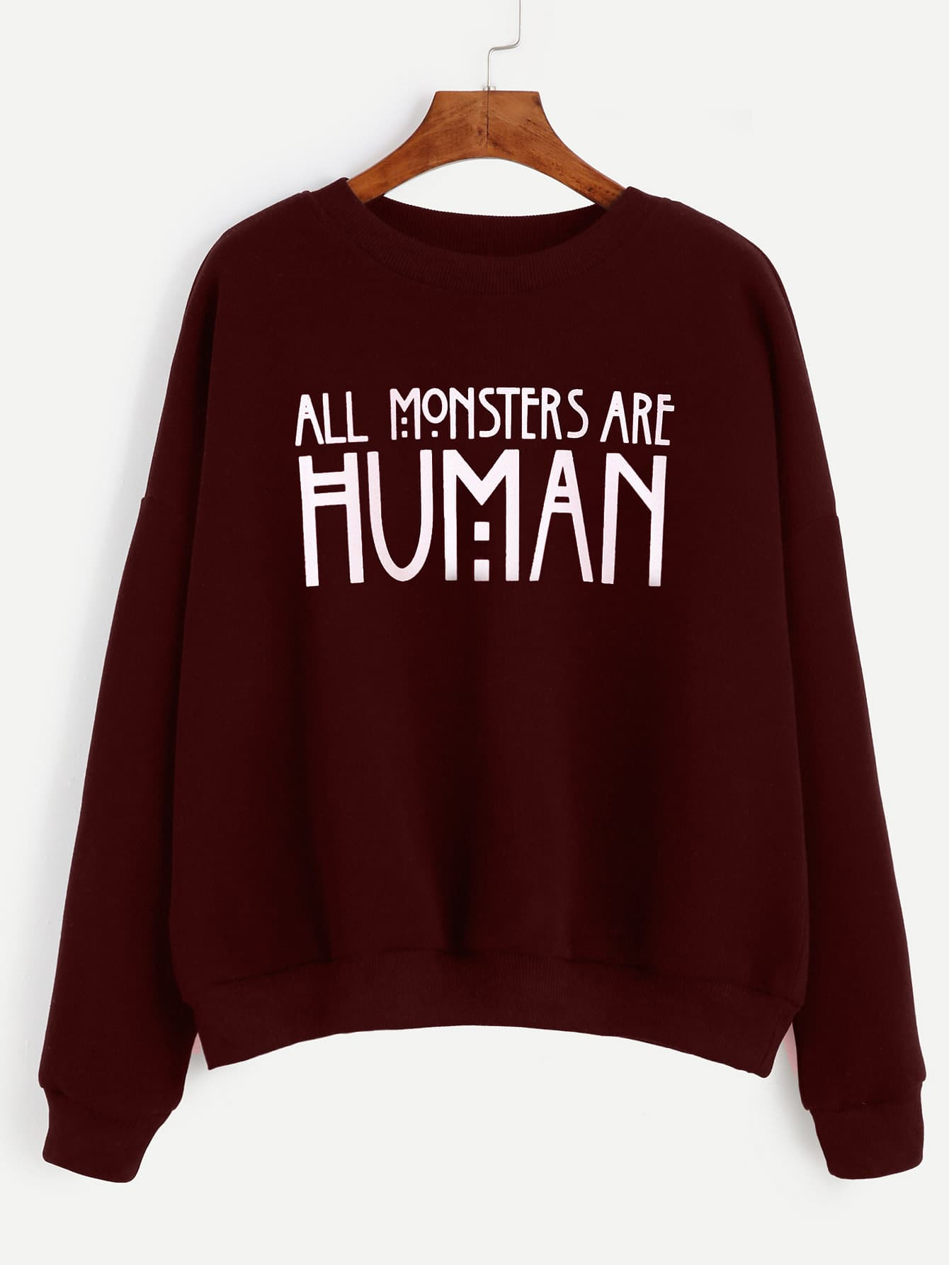 Burgundy Slogan Print Drop Shoulder Sweatshirt alien print drop shoulder hooded drawstring sweatshirt