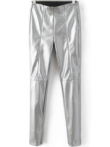 Silver Zipper Detail Seam Skinny PU Pants