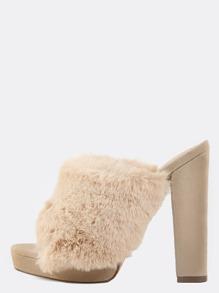 Fluffy Fur Velvet Chunky Heels NUDE