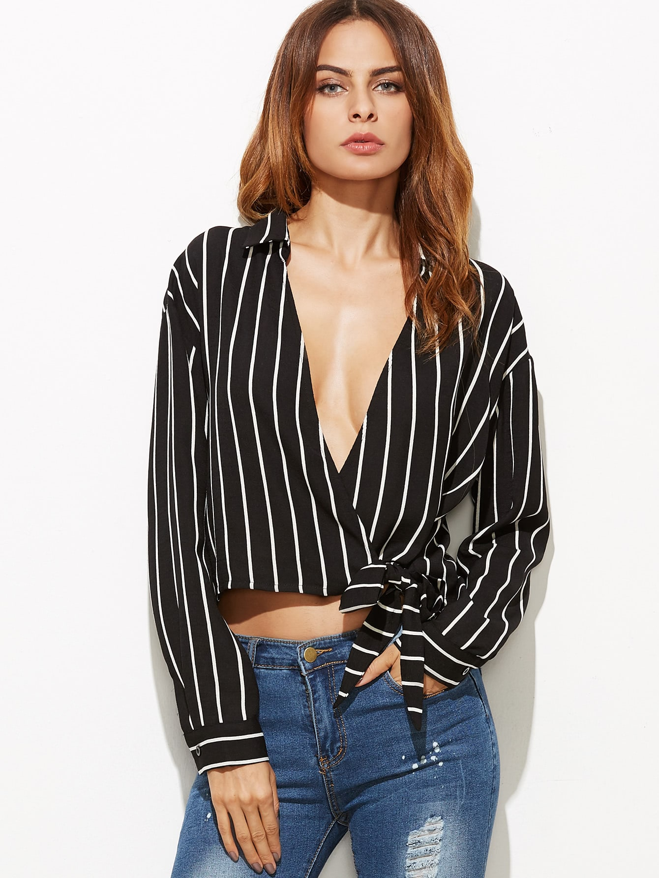 Black Vertical Striped Plunge Surplice Wrap Blouse blouse161101707