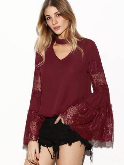 Choker V Cutout Lace Panel Trumpet Sleeve Top