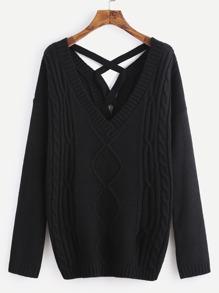 Pull à dos croisé en tricot mélangé -noir