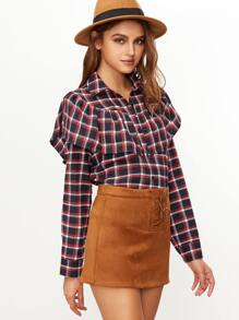 Multicolor Plaid Single Breasted Capelet Blouse