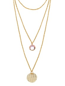 Gold Layered Round Rhinestone Coin Pendant Necklace