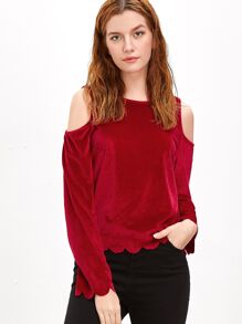 Red Cold Shoulder Scallop Edge Velvet Top