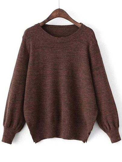 Brown Round Neck Side Slit Loose Sweater