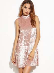 Pink Keyhole Mock Neck Sleeveless Velvet Dress