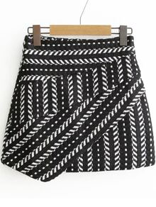 Black Tribal Pattern Asymmetrical Skirt