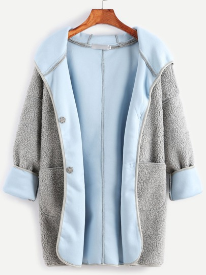 Grey Hooded Drop Shoulder Sherpa Coat