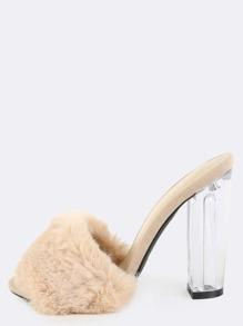 Perspex Slip On Fur Heels NUDE