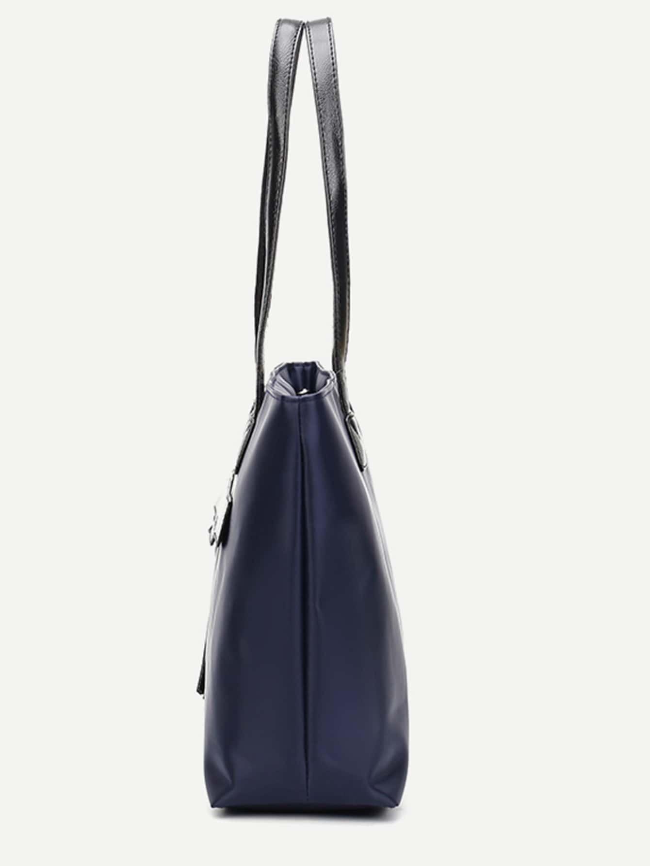 nylon einkaufstasche mit rei verschluss marine german shein sheinside. Black Bedroom Furniture Sets. Home Design Ideas