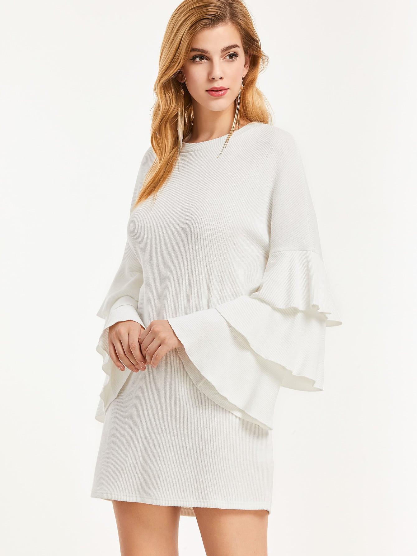 White Ribbed Knit Layered Ruffle Sleeve Dress dress161125702