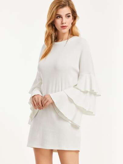 White Ribbed Knit Layered Ruffle Sleeve Dress