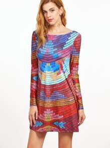 Patchwork Open Back Shift Dress