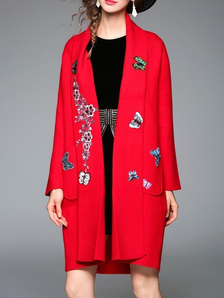 Фото Red Butterfly Applique Pouf Pockets Coat. Купить с доставкой