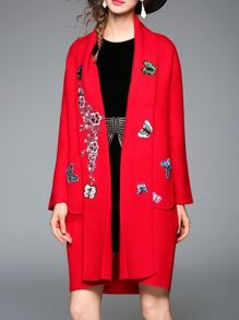 Red Butterfly Applique Pouf Pockets Coat