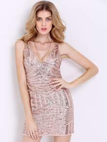 Sequined Bodycon Slip Dress With Zipper Back