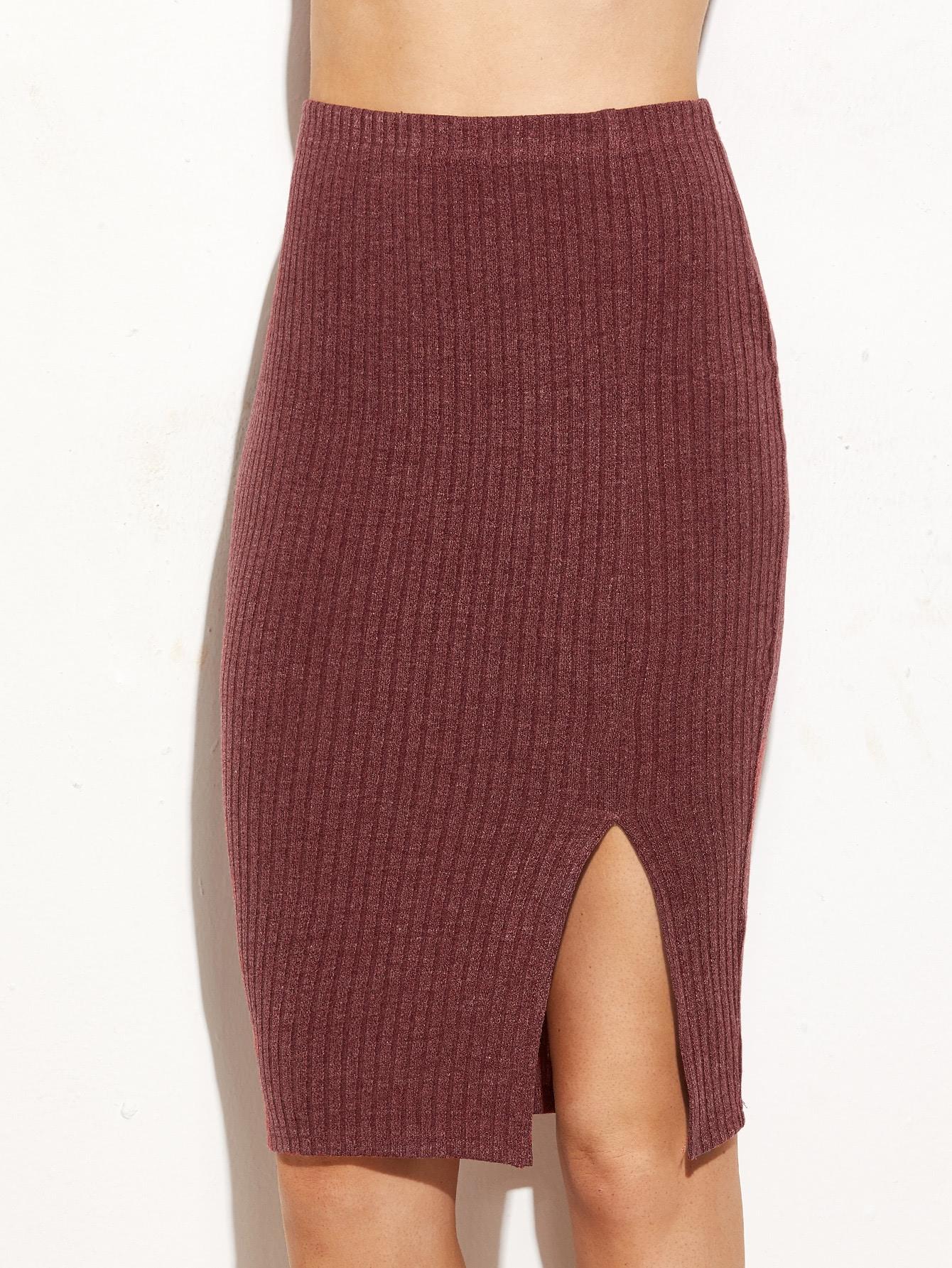 Купить Бордовая ребристая юбка-карандаш с вырезом, Nathane, SheIn