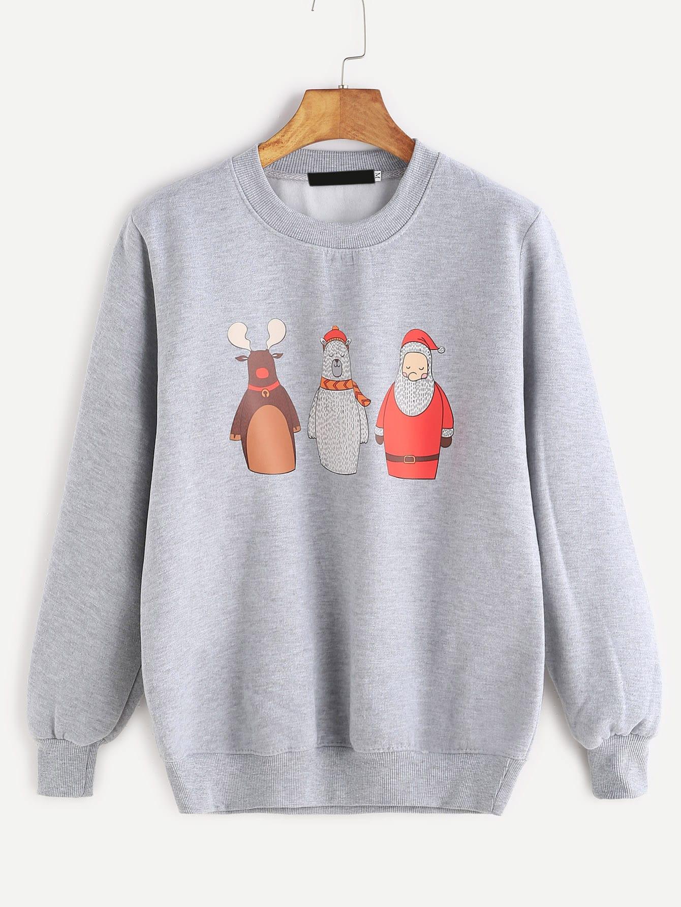 Grey Cartoon Print Ribbed Trim Sweatshirt sweatshirt161118302
