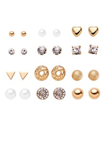 Gold Plated Rhinestone Geometric Stud Earrings Set