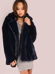 Midnight Luxe Faux Fur Coat BLUE BLACK