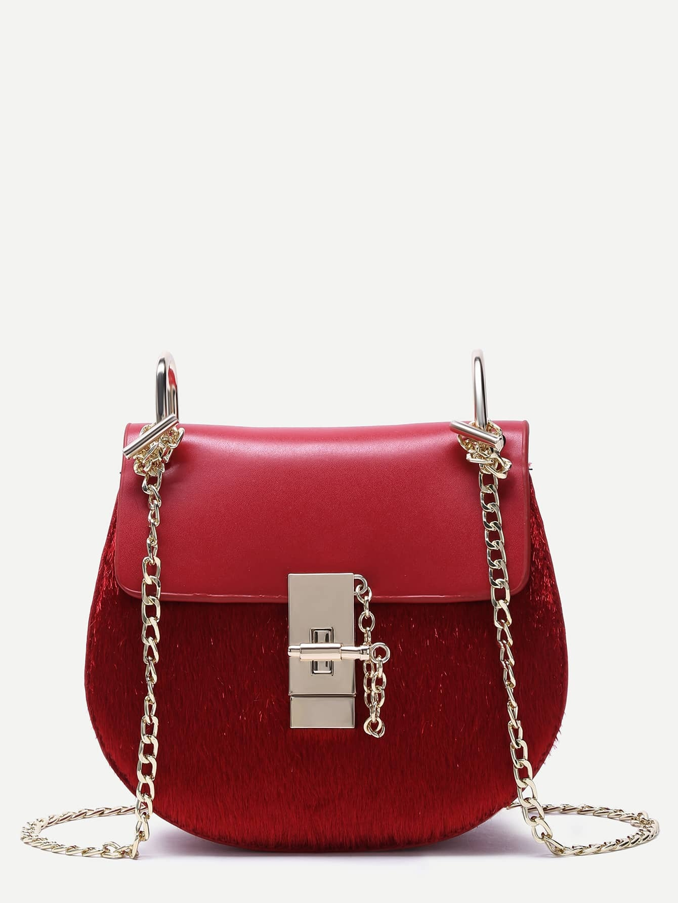 Red Horse Hair Covered PU Saddle Bag With Chain Strap Image