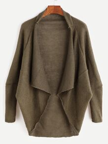 Khaki Drape Front High Low Cocoon Cardigan