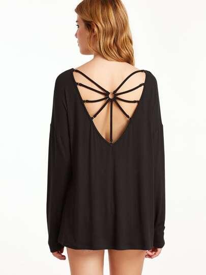Black V Neck Ring Detail Strappy Back T-shirt