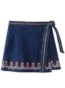 Falda de denim con bordado y lazo anudado - azul
