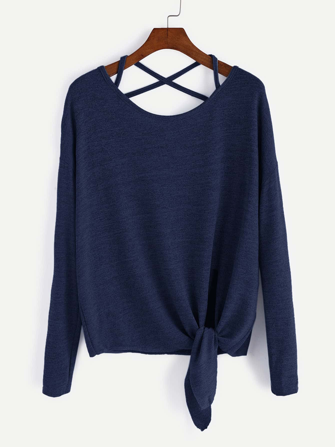 Dark Blue Drop Shoulder Criss Cross Tie Front T-Shirt