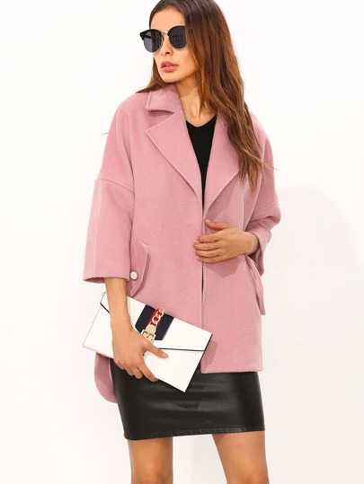 Pink Drop Shoulder Hidden Button High Low Textured Coat