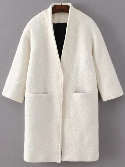 White Hidden Button Pocket Wool Blend Coat