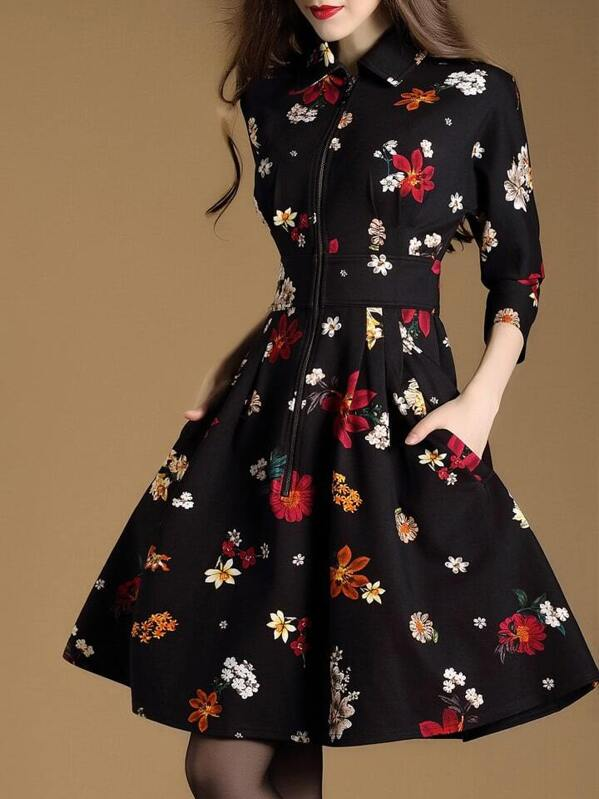 Black Lapel Floral A-Line Dress, null