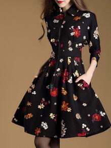 Black Lapel Floral A-Line Dress