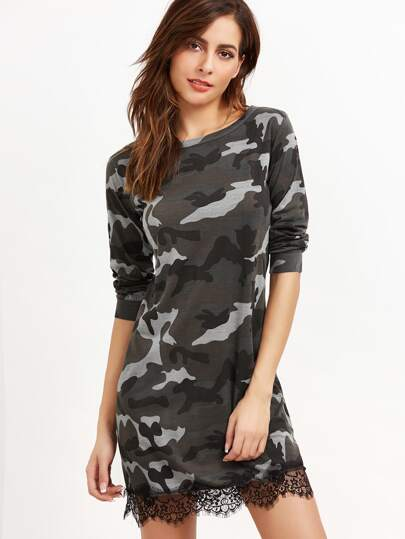 Camo Print Contrast Eyelash Lace Sweatshirt Dress