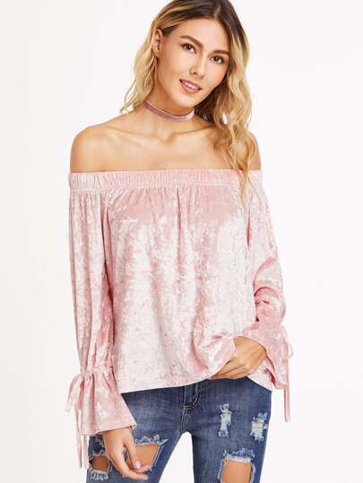 Pink Off The Shoulder Drawstring Cuff Velvet Top